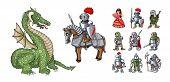 Fairy Tales Cartoon Characters. Fantasy Knight And Dragon, Princess And Knights poster