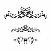 Flourish Vector Text Dividers Set. Floral Vintage Calligraphic Embellishment. Isolated Black Ornate  poster