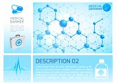 Healthcare Infographic Blue Concept With Realistic Medical Box Heart Rhythm And Molecular Structure  poster