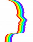 stock photo of mental_health  - Rainbow in the shape of human face on the white background - JPG