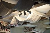 Embroidery Linen. Beam Ceiling With Draped Textile And Light Fixtures. Ceiling Drapery With Embroide poster