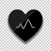 Cardiac Pulse. Heart And Pulse Line. Simple Single Icon. Black Glass Icon With Soft Shadow On Transp poster