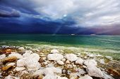 foto of sea salt  - Improbable light effects during a thunder - JPG