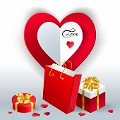Happy Valentines Day.valentines Day Gift Box. Red Hearts Coming Out From Gift Box. Holiday Gift Pres poster