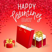 Valentines Day Vector Background With Cut Paper Hearts Holiday Gift Present Box. Beautiful Festive  poster