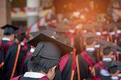 Graduates Wear Black Hats, Black Hats.graduates Join The Graduation Ceremony At The University. poster