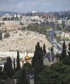 Christian Quarter in Jerusalem's Old City. Church of St. Mary Magdalene in Gethsemane