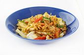 Stir Fried Cellophane Noodles With Tomato,cabbage And Onion And Blue Dish poster
