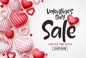 Valentines Day Sale Vector Banner Template. Valentines Day Sale Discount Text With Hearts Elements I poster
