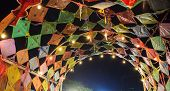 Colorful Traditional Thai Vintage Retro Kites Dome Ceiling In Asian Cultural Art Festival In Thailan poster