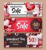 Valentines Day Sale Vector Banner Template Set. Valentines Day Sale Text With Hearts Elements In Red poster