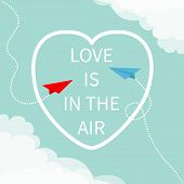Love Is In The Air Lettering Text. Flying Red Origami Paper Plane. Dashed Heart Line Frame Cloud In  poster