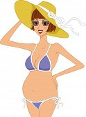 Illustration of a Pregnant Woman Wearing a Swimsuit