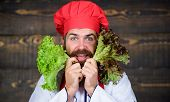 Eat Healthy. Healthy Raw Food. Dieting Concept. Man Wear Hat And Apron Hold Salad. Healthy Nutrition poster