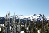 picture of mountain-range  - snowy mountain range - JPG