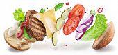 Hamburger ingredients hanging in the air. Colorful conceptual picture of burger cooking. Clipping pa poster