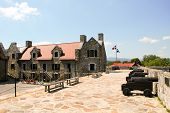 Fort Ticonderoga, fort headquarters, stone walls and cannon