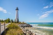 Great Lakes Lighthouse Background. Crisp Point Lighthouse On The Lake Superior Coast In The Upper Pe poster