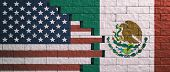 Us Of America And Mexico Flags On Cracked Wall Background. 3D Illustration poster