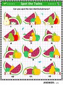 Fruit And Berry Iq Training Picture Puzzle: Can You Spot The Two Identical Pictures? Answer Included poster