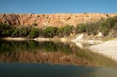 figure eight lake and sandstone cliffs
