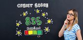 Excellent Credit Score Theme With Young Woman In Front Of A Blackboard poster