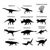 Dinosaur Silhouettes (prehistoric Lizards, Dinosaur Shadow, Ancient World) poster