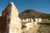 Fort Bowie National Historic Site adobe ruins and desert mountains poster