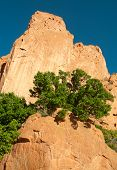 towering orange rock formation at Garden of the Gods