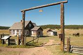 stock photo of colorado high country  - Hornbeck Farmstead buildings on the plains - JPG