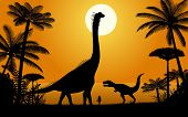 Silhouettes Of Dinosaurs. Two Dinosaurs On Sunset Background. Vector Illustration. poster