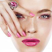 Woman Face With Pink Makeup