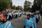 TOMSK, RUSSIA - AUGUST 9: Orthodox Procession in Tomsk and celebrations devoted to the second finding of a wonder-working icon of Our Lady from village of Bogorodsky, August 9, 2009 in Tomsk, Russia.