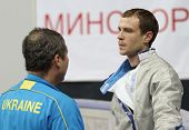 MOSCOW, RUSSIA - FEBRUARY 14: Dmytro Boyko (UKR) competes at the 2010 RFF Moscow Saber World Fencing