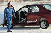 MOSCOW - FEBRUARY 23: Racing driver Firdaus Kabirov during the 21st traditional