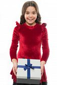Girl Kid Hold Birthday Gift Box. Every Girl Dream About Such Surprise. Birthday Girl Carry Present W poster