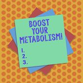 Writing Note Showing Boost Your Metabolism. Business Photo Showcasing Speeding Up The Breakdown Of F poster