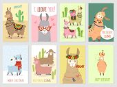 Llama Cards. Baby Llamas Cute Alpaca And Cacti Wild Lama. Peru Camel, Girl Party Invitation Card Vec poster
