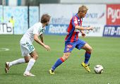 MOSCOW - MAY 10: CSKA's Keisuke Honda (R) in action during their team's Russian football championshi