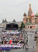 MOSCOW - MAY 24: Hundreds of orthodox believers walk near the Kremlin, while celebrating the Holiday of St. Cyril and Methodius, the creators of Cyrillic alphabet, May 24, 2010 in Moscow, Russia.