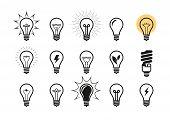 Lightbulb Icon Set. Light Bulb, Electricity, Energy Symbol Or Label. Vector Illustration poster