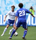 MOSCOW - JULY 3: Dynamo Moscow's midfielder Dmitry Kombarov (left) in the VTB Lev Yashin Cup: FC Dyn