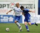 MOSCOW - JULY 3: Dinamo's midfielder Dmitry Hohlov (left) in the VTB Lev Yashin Cup: FC Dynamo Mosco