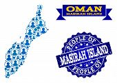 People Collage Of Blue Population Map Of Masirah Island And Scratched Seal Stamp. Vector Imprint Wit poster