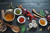 Colorful Various Of Fresh And Dried Herbs, Spices For Cooking. Spice And Herb Seasoning, Paprika Pow poster