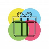 Vector Gift Box Illustration Isolated - Holiday Present Graphic Symbol - Giftbox Icon. Thin Line Pic poster