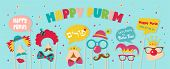 Purim Banner Template Design, Jewish Holiday Vector Illustration . Happy Purim In Hebrew. Vector Ill poster