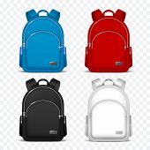 School Rucksack. Kids Backpacks. Front View Travel Bag For Backpacking. 3d Vector Mockup Isolated. R poster