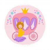 Cartoon Character Cute Little Princess And Coach Card Vector Template. Illustration Of Princess Girl poster