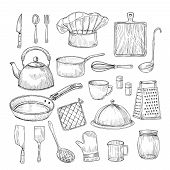 Hand Drawn Cooking Tools. Kitchen Equipment Kitchenware Utensils Vintage Sketch Vector Collection. I poster